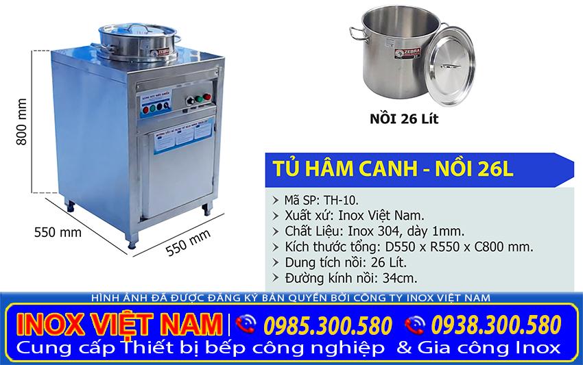 Thông số kỹ thuật Tủ hâm nóng canh, Tủ giữ nóng món ăn, Tủ hâm nóng nước lèo 1 nồi 26l