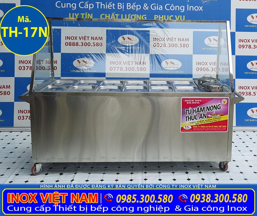 Tủ hâm nóng thức ăn, Tủ giữ nóng thức ăn, Giá tủ hâm nóng thức ăn 12 khay 2 nồi inox TH-17