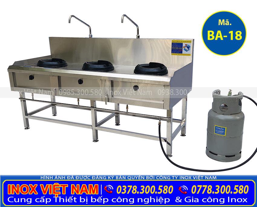 Địa chỉ mua bếp á, bếp hầm bếp xào, các thiết bị bếp á công nghiệp chính hãng. Chất lượng với mức giá ưu đãi tốt nhất thị trường. Hình ảnh thật tế bếp á công nghiệp 3 họng BA-18.