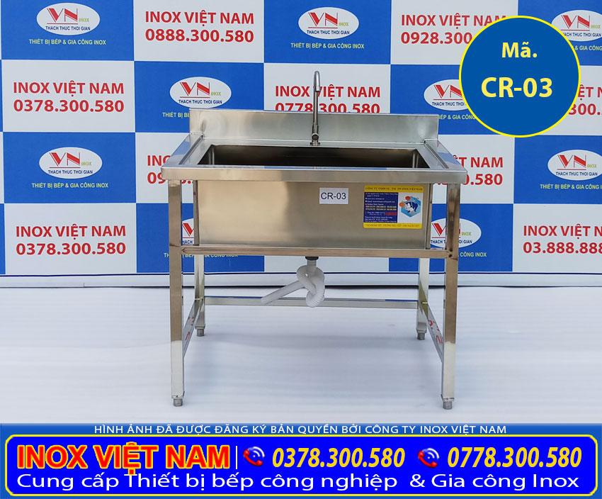 Chậu Rửa Đơn Inox Loại Lớn Có Khung Chân CR-03