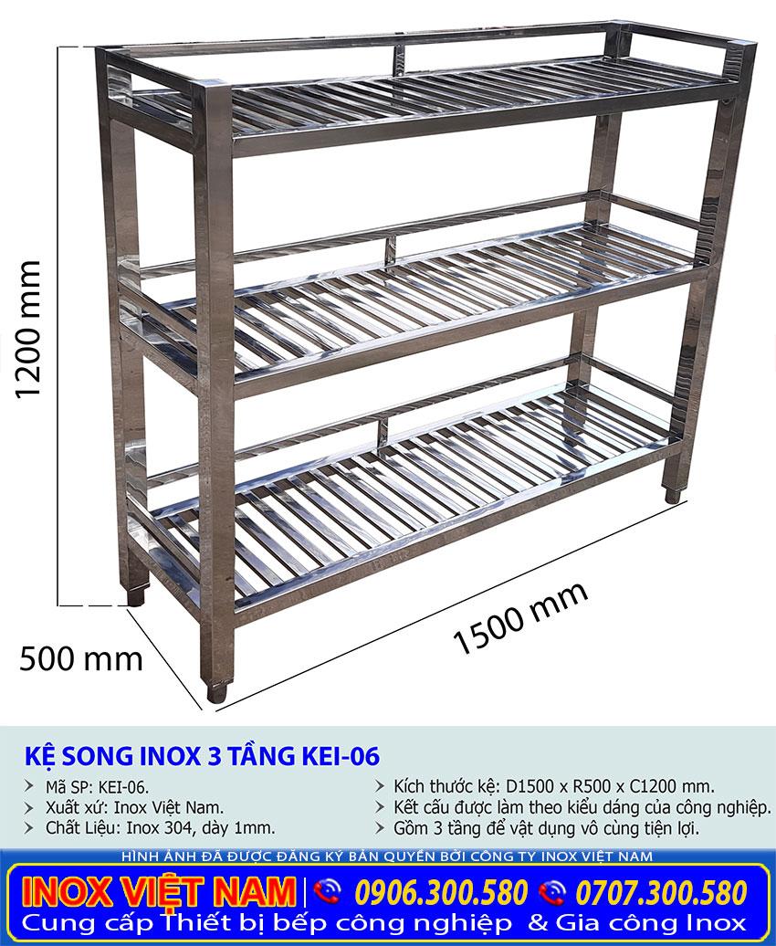 Kích thước của kệ bếp inox 3 tầng kệ song KEI-06