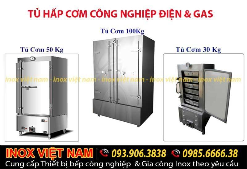 Tủ nấu cơm công nghiệp 100kg điện và gas