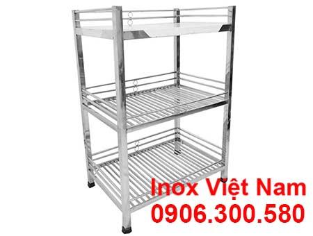 Kệ inox, Kệ 3 tầng inox, Kệ úp ly inox chất lượng cao