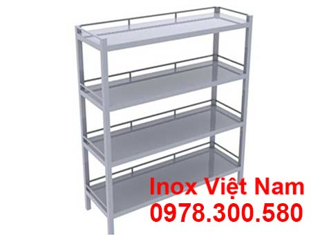 kệ inox 4 tầng phẳng