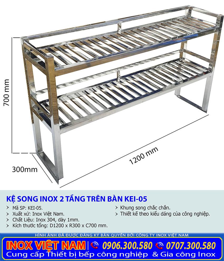 Kích thước về kệ úp chén bát inox, kệ bếp inox 2 tầng để bàn KEI-05 sản xuất Bếp Inox Việt Nam.
