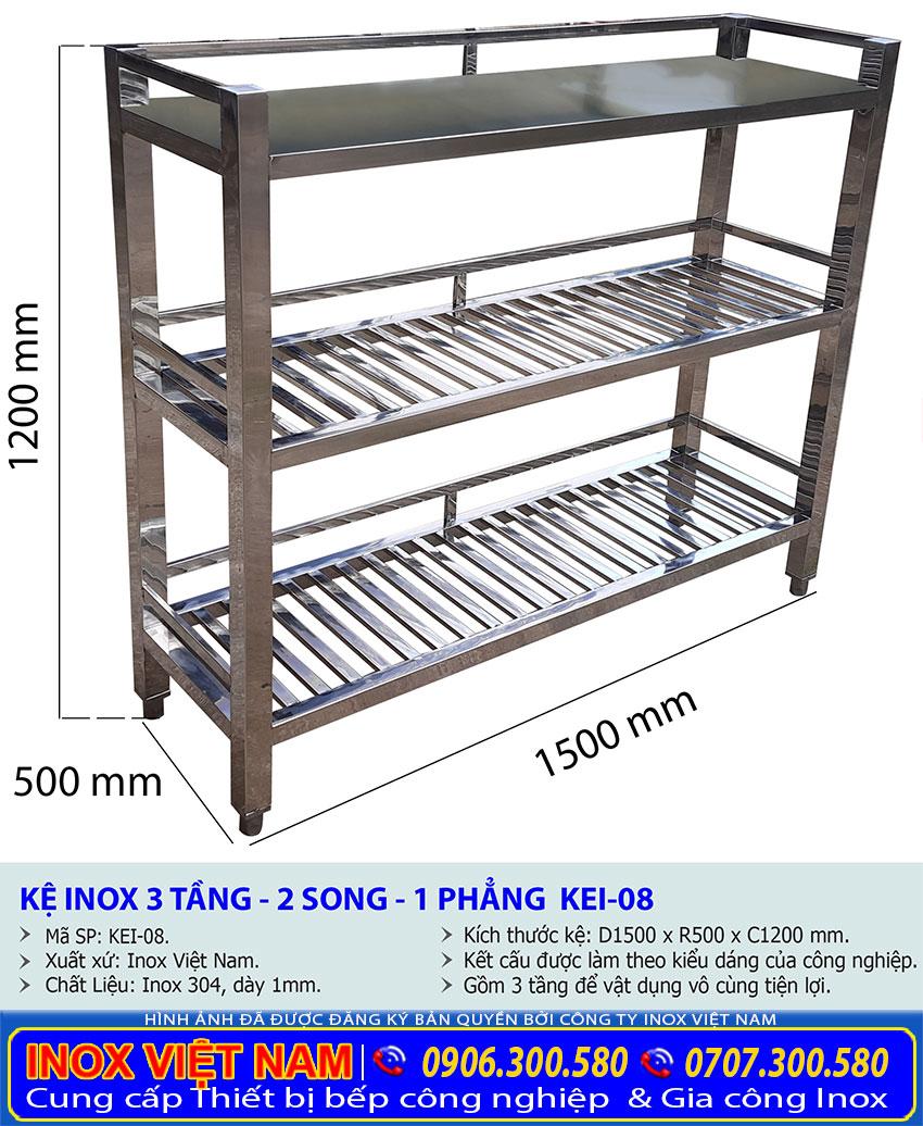 Kích thước về kệ nhà bếp inox 3 tầng 2 song và 1 phẳng KEI-08