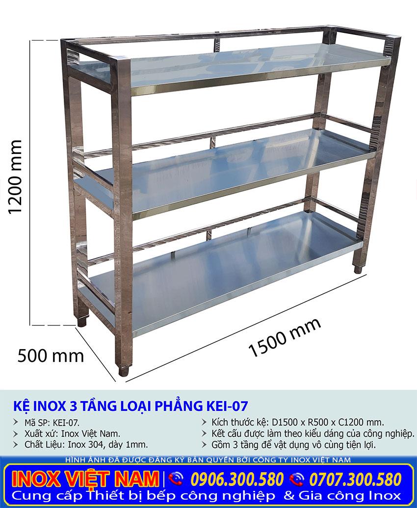 Kích thước kệ bếp inox 3 tầng kệ phẳng KEI-07