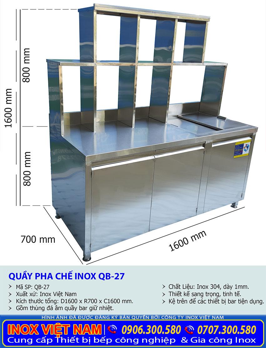 Kích thước tổng thể của quầy pha chế trà sữa inox QB-27