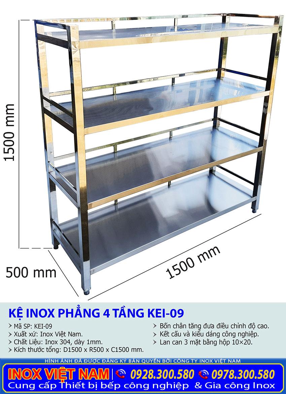 Kích thước về kệ úp chén, ly inox , kệ bếp inox 4 tầng KEI-09 sản xuất Bếp Inox Việt Cường Thịnh.