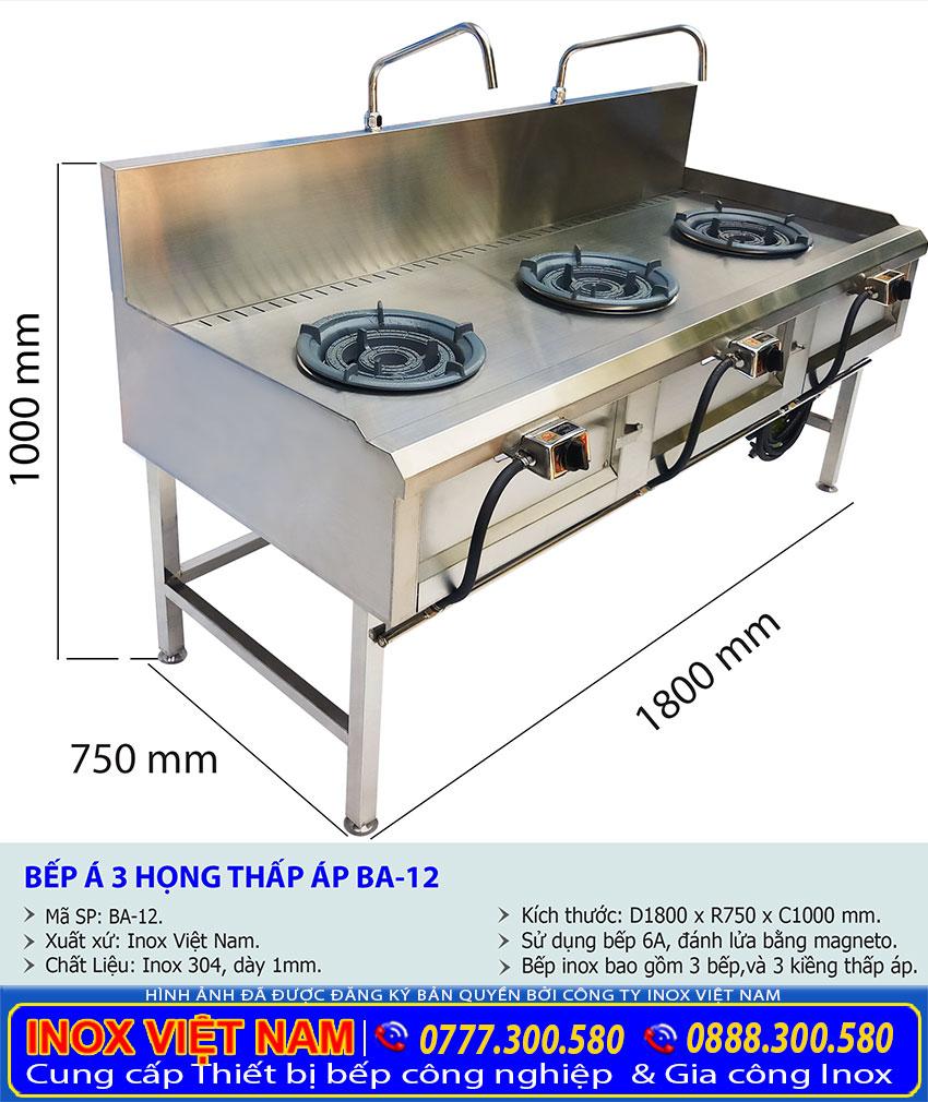 Kích thước tổng thể của bếp á công nghiệp 3 họng thấp áp có vòi nước BA-12