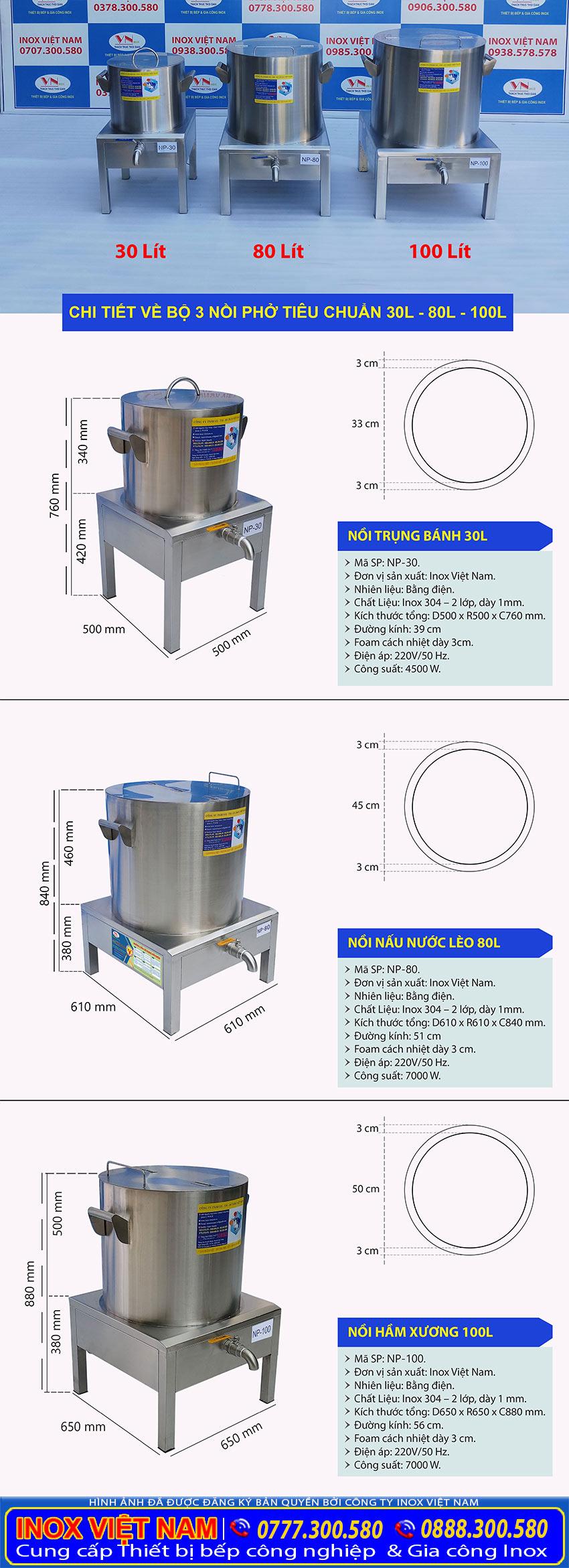 Thông số kỹ thuật Bộ Nồi Hấp Phở Bằng Điện| Nồi Nấu Hũ Tiếu Bằng Điện| Nồi Điện Hầm Xương.