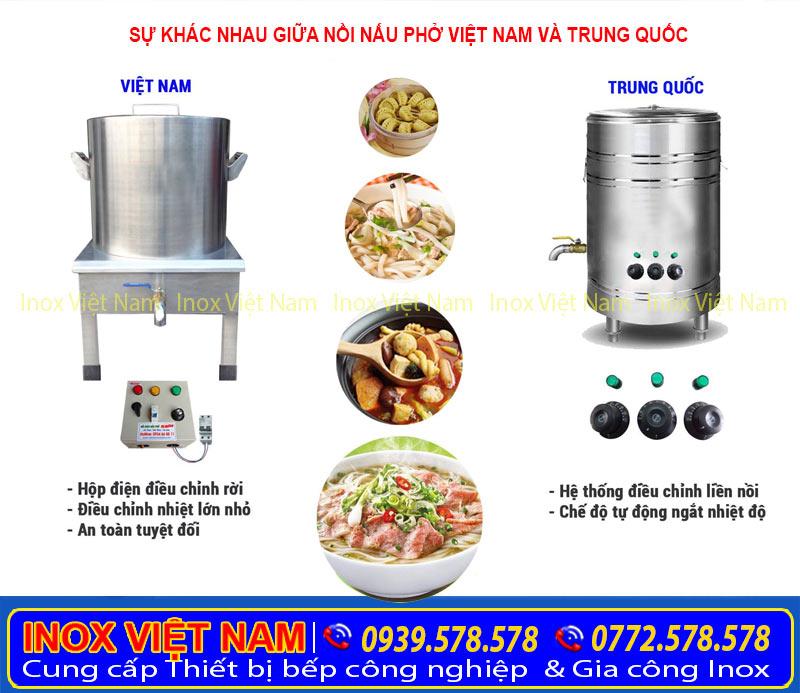 so sánh nồi nấu phở chính hãng Việt Nam và Trung Quốc