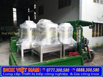 Hình ảnh thật tế giao hàng lắp đặt nồi điện nấu phở tận nơi tại bếp Inox Việt Nam