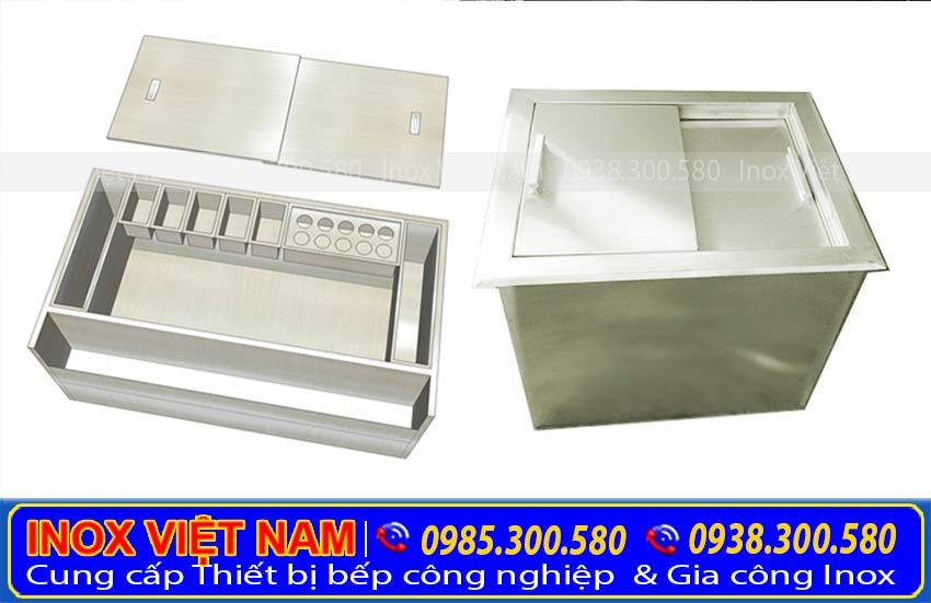thùng chứa đá âm bàn inox 304