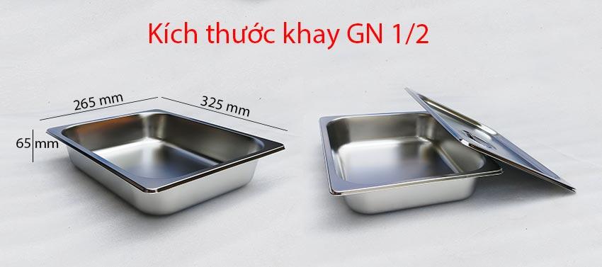 kích thước khay GN 1/2 tủ hâm nóng thức ăn 10 khay inox TH-02 (Ảnh thật tế).