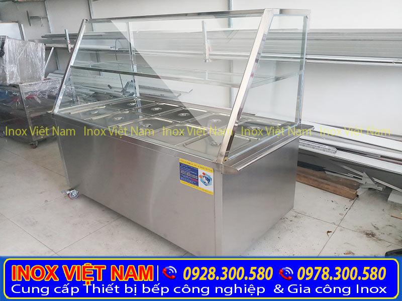Tủ hâm nóng thức ăn 10 khay inox TH-02 của Inox Việt Nam (Ảnh thật tế).
