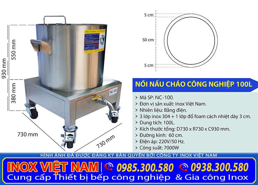 Kích thước tổng thể của nồi nấu phở bằng điện 100 lít sản xuất Bếp Inox Việt Nam.