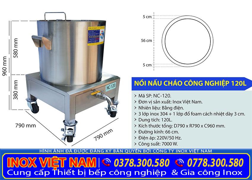 Kích thước tổng thể của nồi nấu phở bằng điện 120 lít sản xuất Bếp Inox Việt Nam.