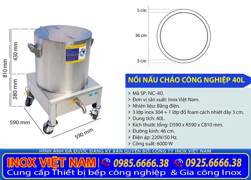 Kích thước tổng thể nồi nấu cháo bằng điện 40 lít sản xuất Bếp Inox Việt Nam.