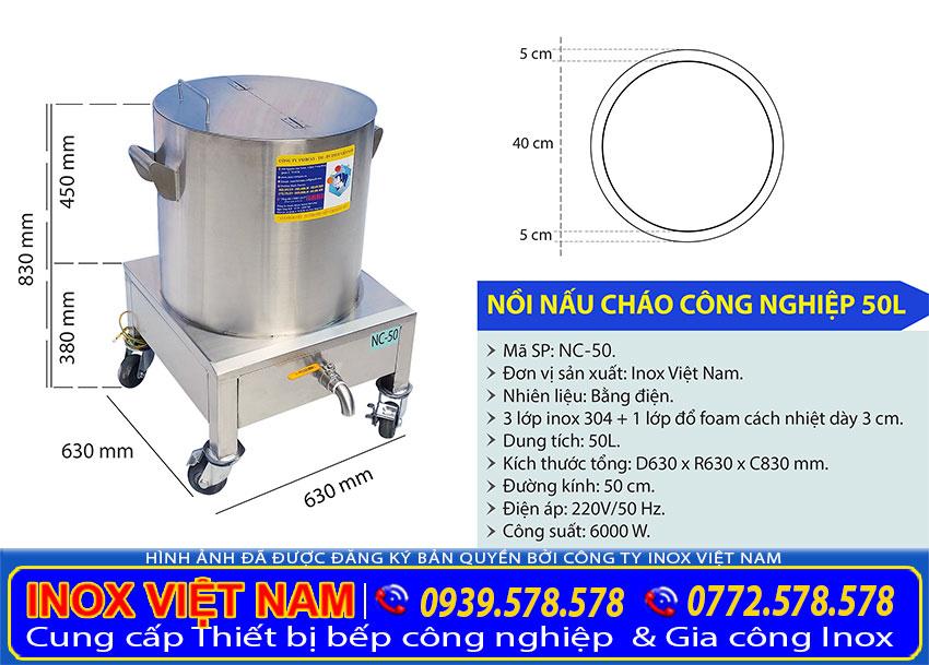 Kích thước tổng thể của nồi nấu phở bằng điện 50 lít sản xuất Bếp Inox Việt Nam.