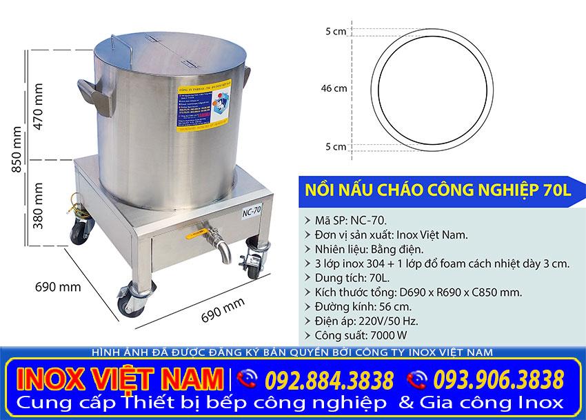 Kích thước tổng thể của nồi nấu phở bằng điện 70 lít sản xuất Bếp Inox Việt Nam.