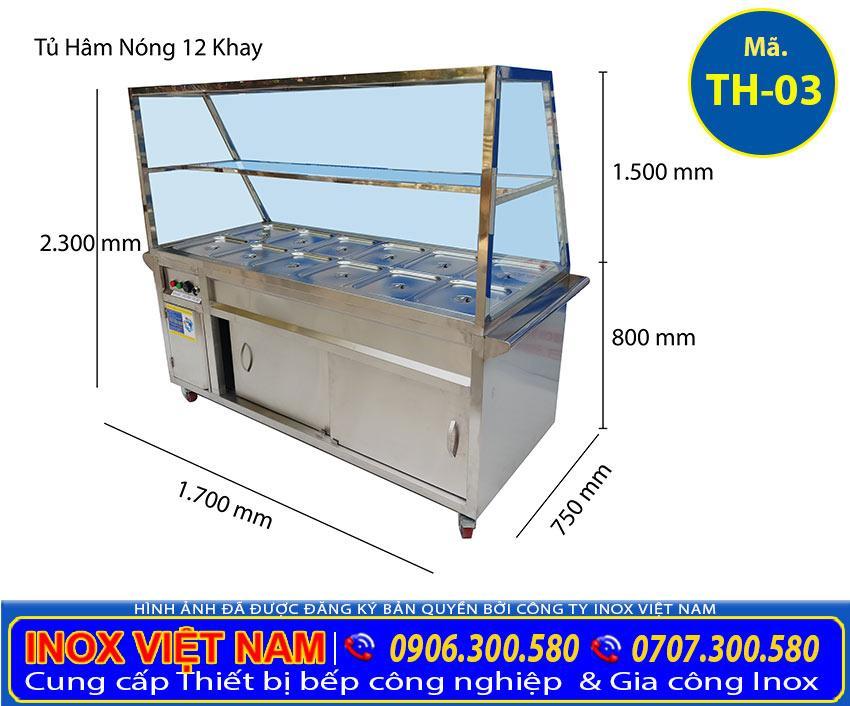 Kích thước Tủ hâm nóng thức ăn 12 khay TH-03 (Ảnh thật tế)