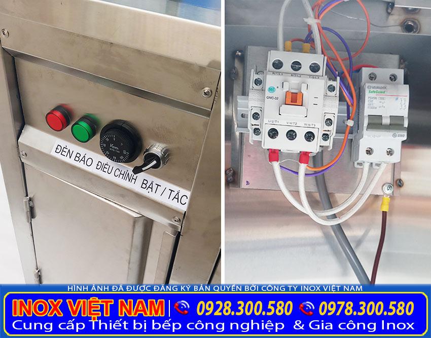 Hệ thống điện của tủ hâm nóng thức ăn 12 khay có mái kính TH-03 cao cấp của Inox Việt Nam (Ảnh thật tế).