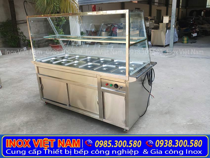 Báo giá tủ giữ nóng thức ăn 12 khay có mái kính TH-03 cao cấp của Inox Việt Nam (Ảnh thật tế).