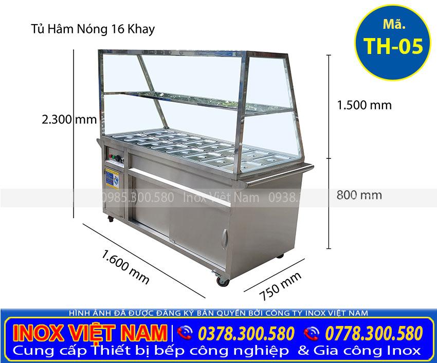 Kích thước tủ giữ nóng thức ăn 16 khay TH-05 (Ảnh thật tế).