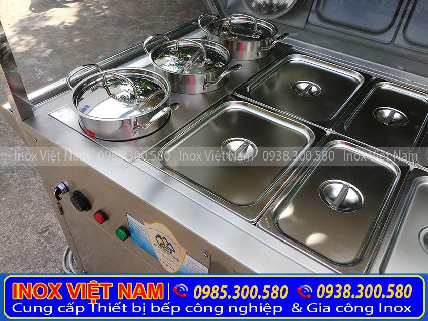Tủ hâm nóng thức ăn 18 khay + 3 nồi của Inox Việt Nam.