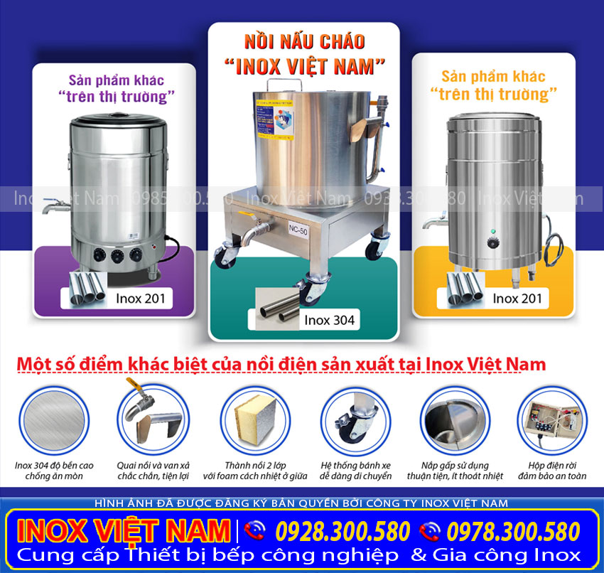 Inox Việt Nam – Sản xuất Nồi nấu cháo bằng điện chất lượng cao.