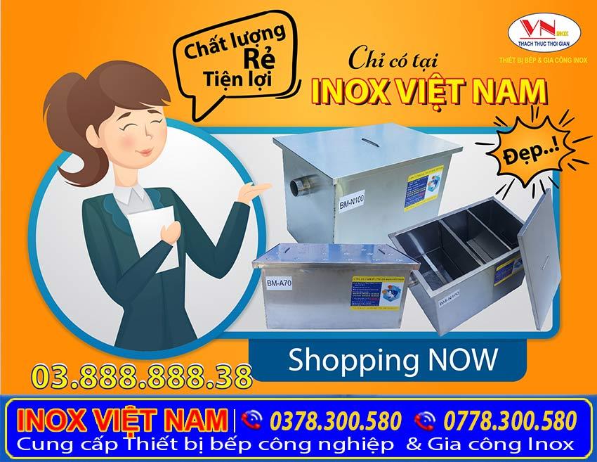 Mua bẫy mỡ inox giá rẻ tại Bếp Inox Việt Nam