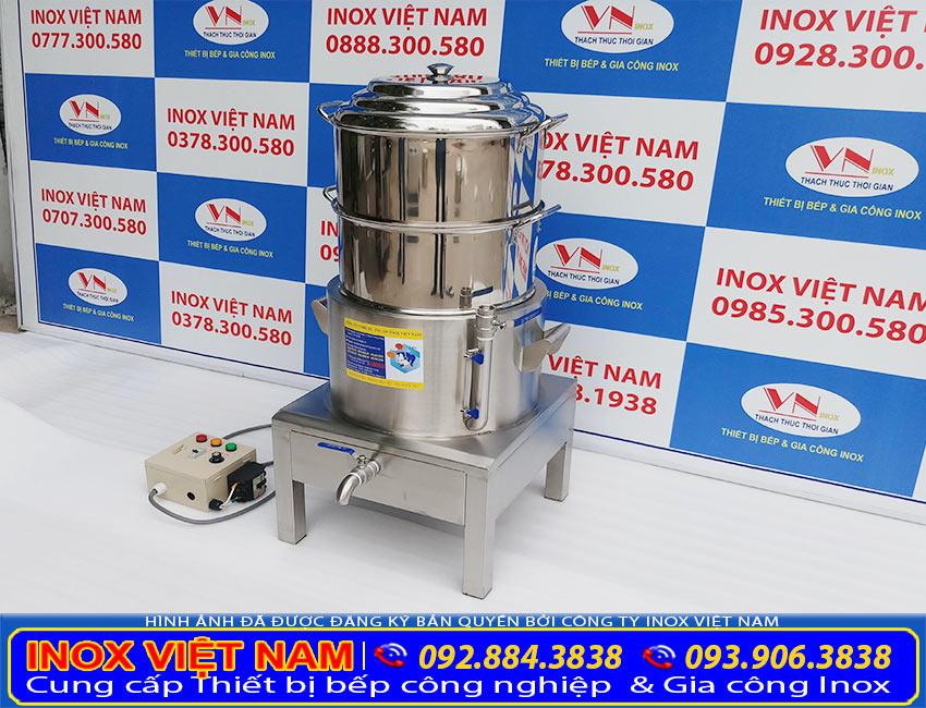 Bếp Inox Việt Nam - Địa chỉ mua nồi hấp bánh bao bằng điện, nồi hấp bánh bao công nghiệp 2 tầng, nồi hấp điện công nghiệp. Chính hãng, với mức giá hấp dẫn (Ảnh thật tế).
