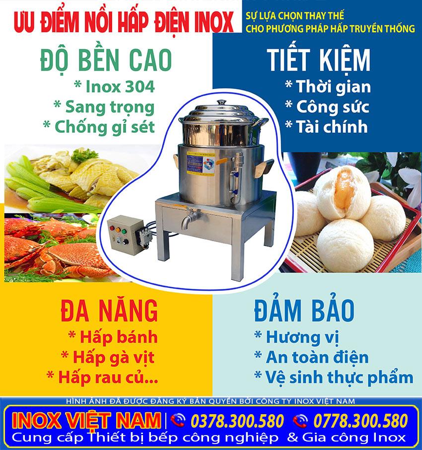Nồi Hấp Cơm Tấm Bằng Điện, Nồi Điện Hấp Cách Thuỷ sản xuất Inox Việt Nam