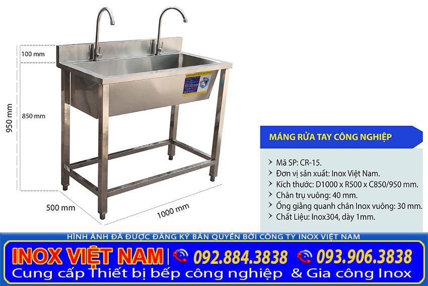 Kích thước và thông số kỹ thuật máng rửa inox công nghiệp chính hãng sản xuất Inox Việt Nam.