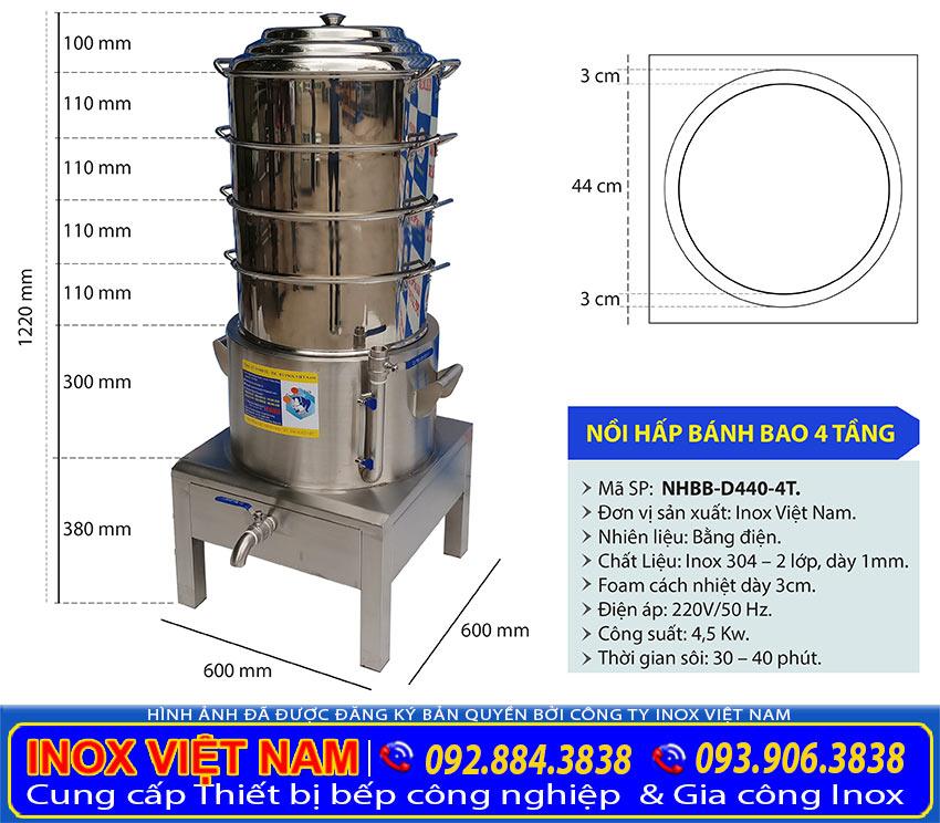 Kích thước và thông số kỹ thuật nồi hấp bánh bao điện 4 tầng d440 do inox Việt Nam sản xuất.