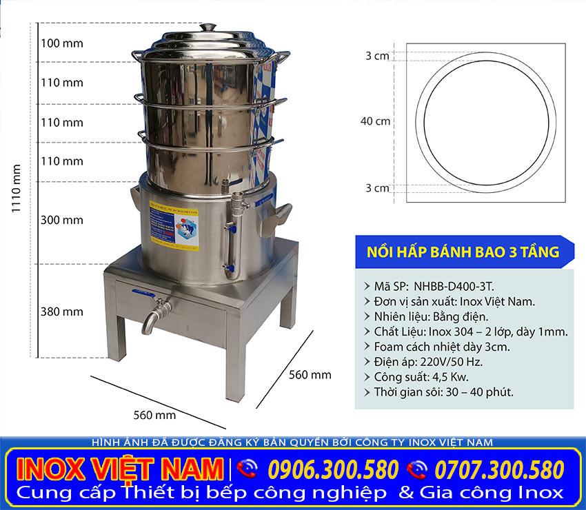 NỒI HẤP BÁNH BAO CÔNG NGHIỆP 3 TẦNG D400, NHBB-400-3T