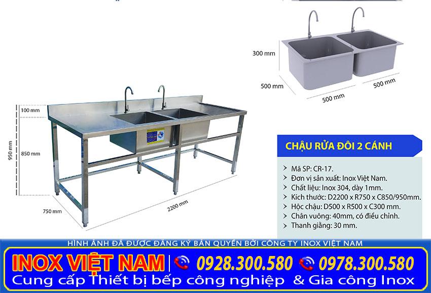 Chậu rửa công nghiệp, Chậu Rửa Đôi 2 Cánh Inox 304 CR-17.