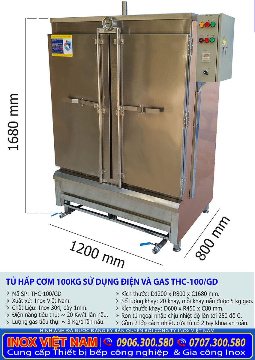 Kích thước tủ nấu cơm 100kg, tủ hấp cơm 100kg bằng gas và điện.