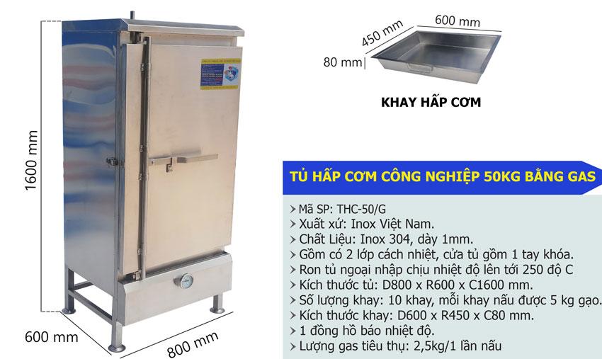 Thông số kỹ thuật Tủ nấu cơm bằng gas, Tủ hấp cơm công nghiệp, Tủ hấp cơm, Inox 304 Cao cấp.