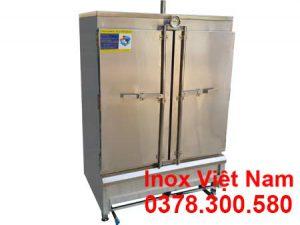 Mẫu tủ nấu cơm công nghiệp, tủ hấp cơm 16 khay, tủ cơm 80 kg bằng gas.