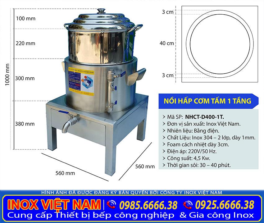 Kích thước Nồi Điện Hấp Cơm Tấm, Nồi Hấp Cách Thuỷ Bằng Điện, Nồi Hấp Xôi Bằng Điện sản xuất Tại Inox Việt Nam.