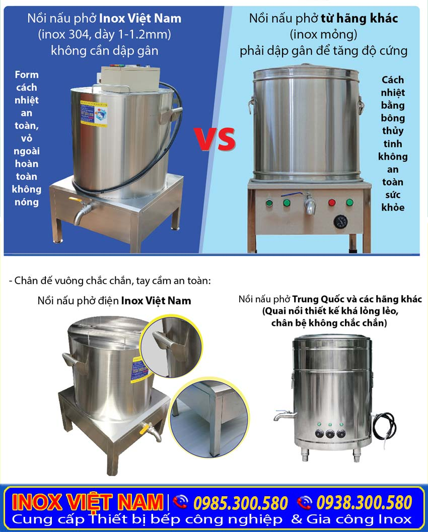 So sánh nồi nấu phở chính hãng Việt Nam và Trung Quốc. Lựa chọn sản phẩm sử dụng nhiên liệu bằng điện có chất lượng tốt nhất