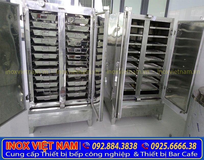 Tủ hấp cơm công nghiệp, Tủ hấp cơm bằng điện và gas inox 304 cao cấp, sang trọng.