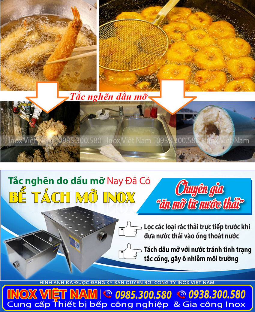 Mua bẫy mỡ inox| Bể tách mỡ inox| Bể tách dầu mỡ inox sản xuất Inox Việt Nam.