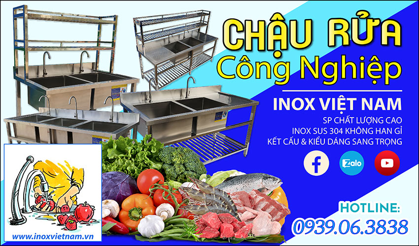 Bồn rửa bát công nghiệp - Chậu rửa chén nhà hàng - Bếp Inox Việt Nam