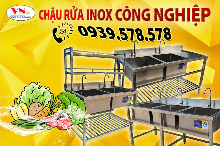 Chậu rửa inox công nghiệp - Bồn rửa chén nhà hàng Bếp Inox Việt Nam