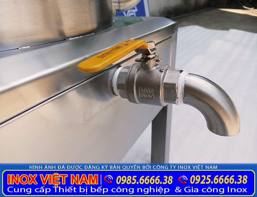 Chân đứng và Van xả nước Nồi hấp điện, nồi hấp bánh bao bằng điện 1 tầng, giá nồi hấp bánh bao bằng điện sản xuất tại inox việt nam