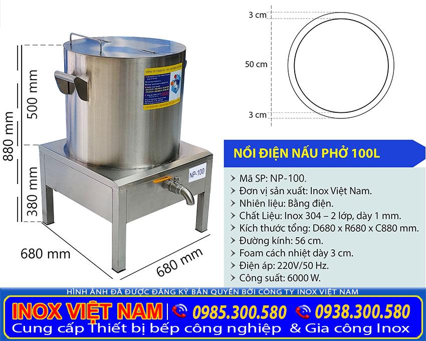 Kích thước nồi nấu phở bằng điện, nồi nấu hủ tiếu bằng điện sản xuất Bếp Inox Việt Nam.