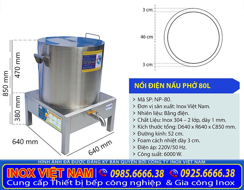 Kích thước Nồi Nấu Phở Bằng Điện 80L sản xuất Inox Việt Nam.